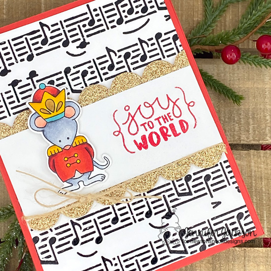 Nutcracker card by Jennifer Jackson | The Nutcracker Squeak Stamp Set and Music Stencil by Newton's Nook Designs #newtonsnook #handmade