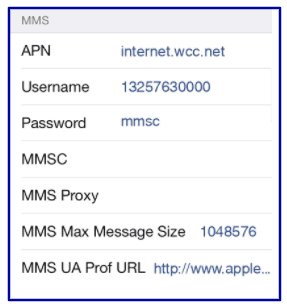 West Central Wireless Data Settings
