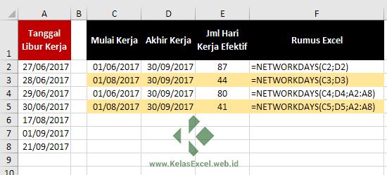 Contoh Rumus Excel Networkdays