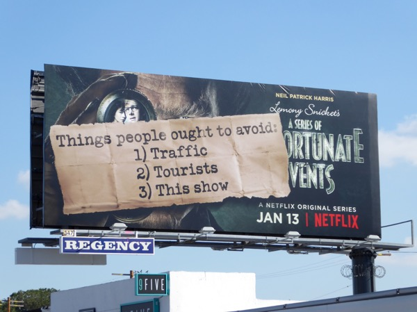 Series of Unfortunate Events Things people ought to avoid billboard