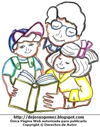 Papá con sus hijos leyendo un libro. Dibujo de papá de Jesus Gómez