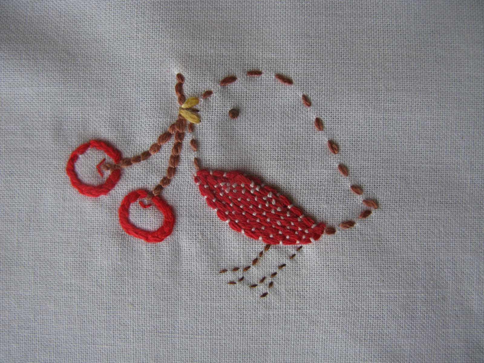 simple robin embroidery holding cherries in its beak