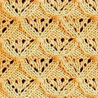 Diamond Lattice lace pattern, a relatively easy pattern after a couple repeats. Intermediate knitting skills would be needed.