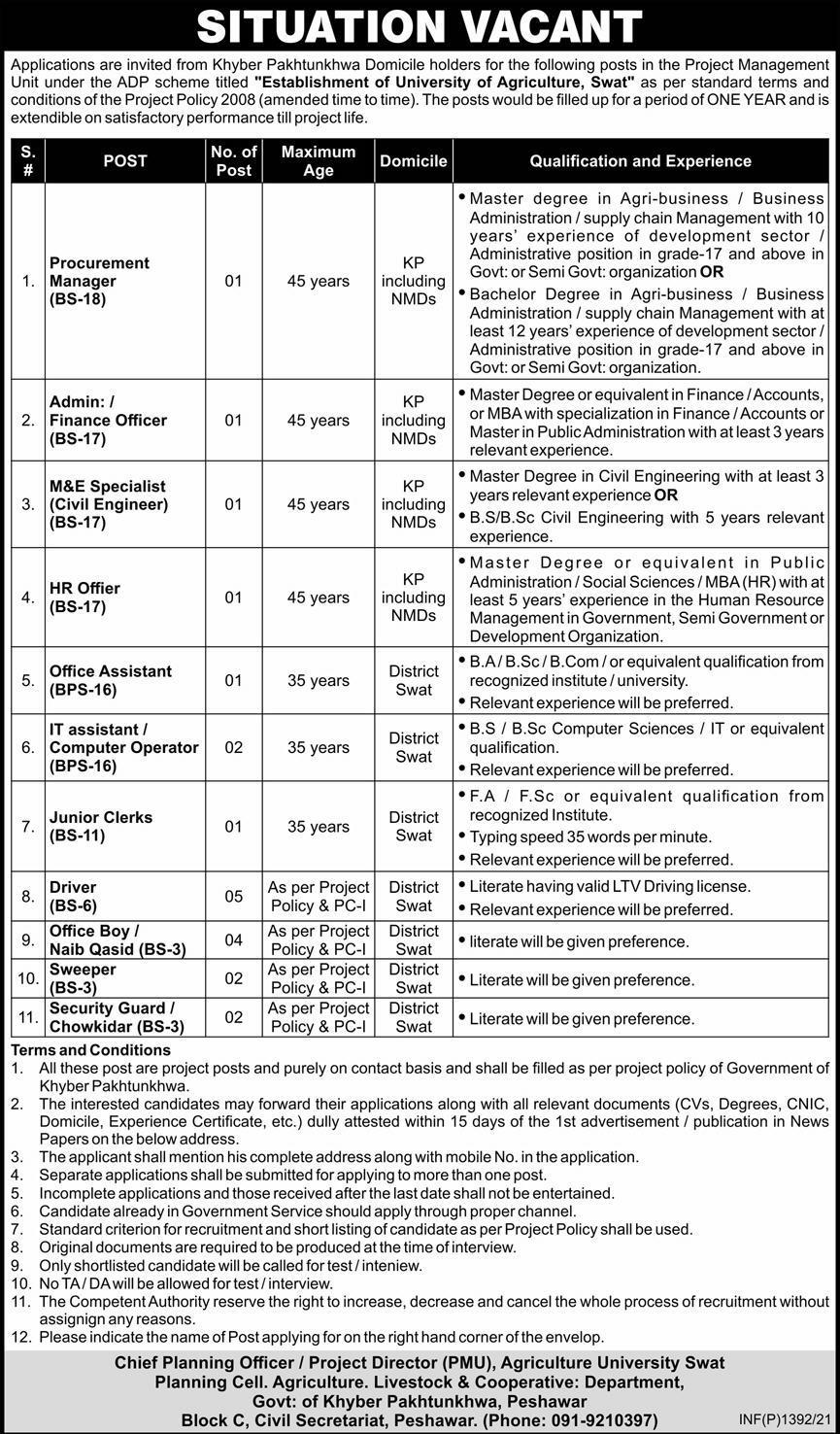 Project Management Unit PMU Jobs 2021 in Peshawar KPK