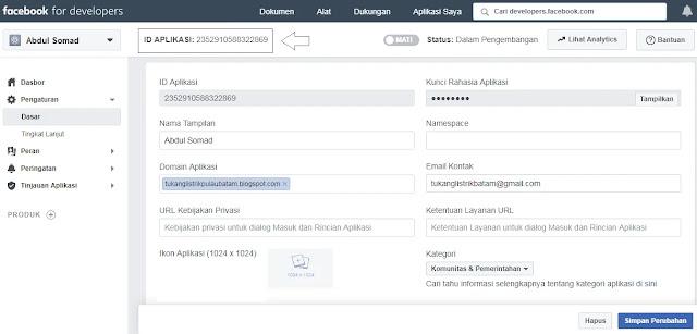 ID Aplikasi (Facebook App Id)