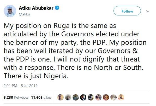Finally, Atiku Breaks Silence On Ruga Settlements