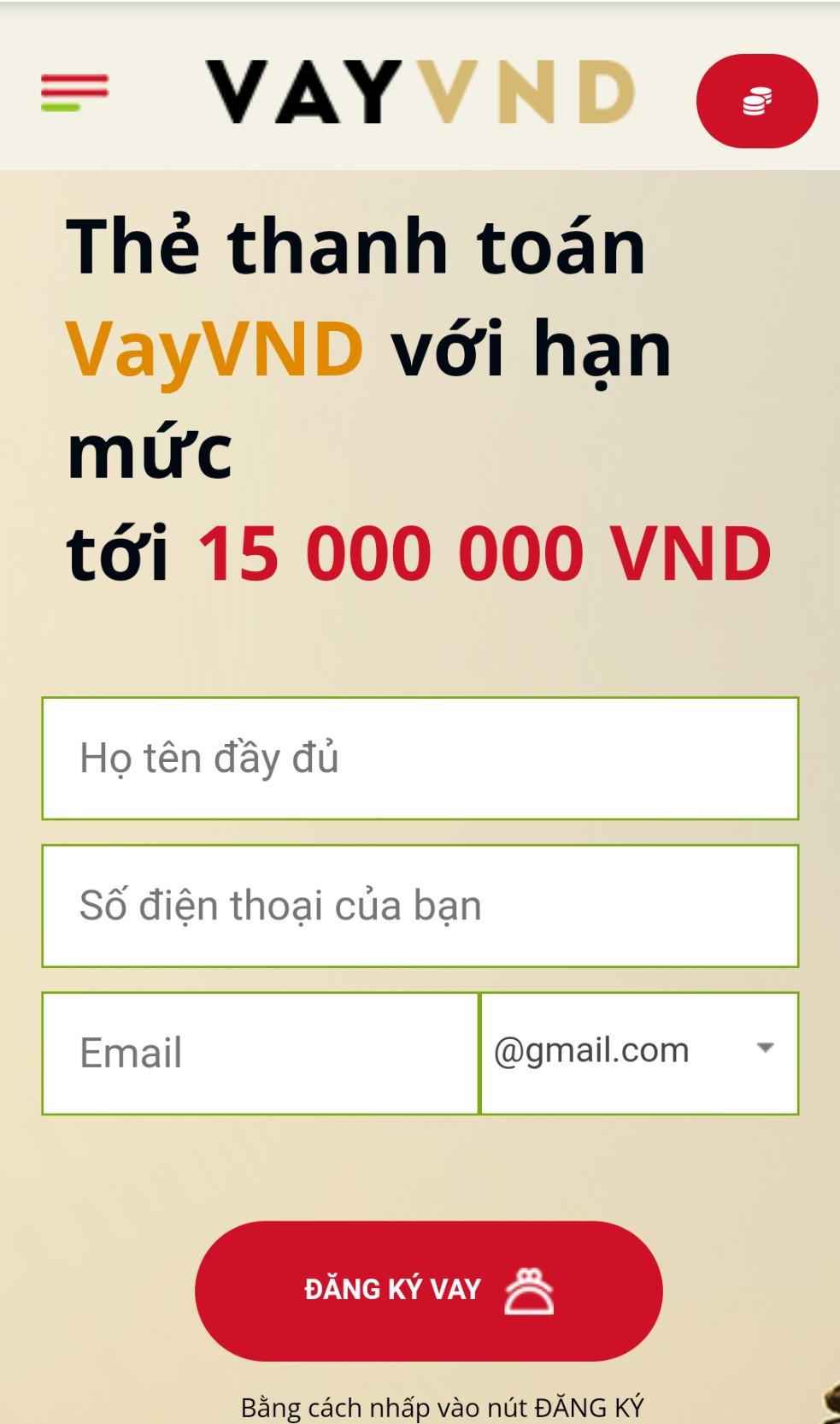 Đăng ký vay tiền VayVND