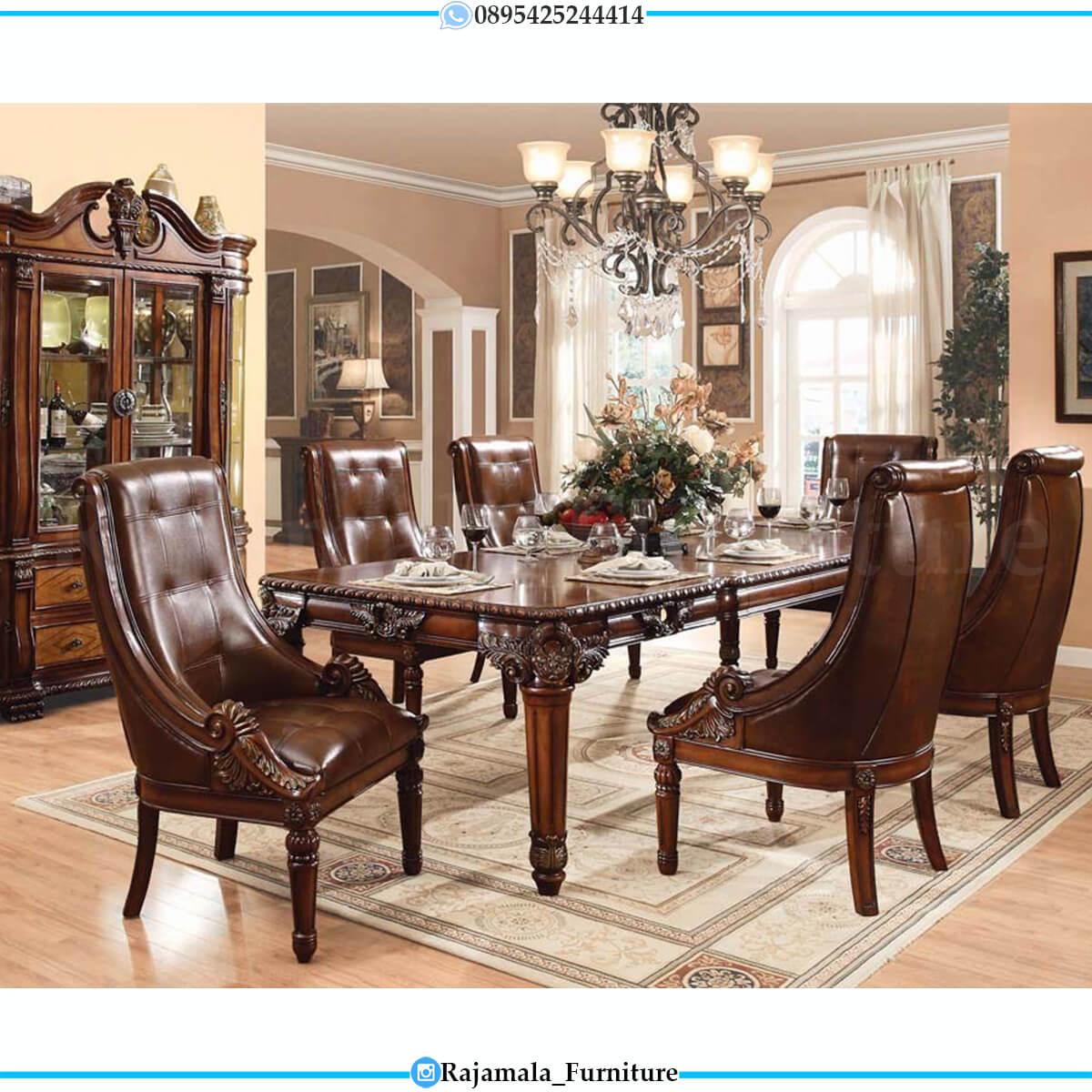 Meja Makan Mewah Jati Natural Classic Luxury Best Seller RM-0711
