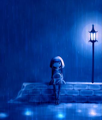 Quadro blu con una bambina sotto la pioggia di notte