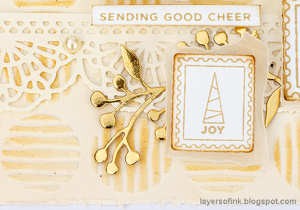 Layers of ink - Good Cheer Christmas card by Anna-Karin Evaldsson.