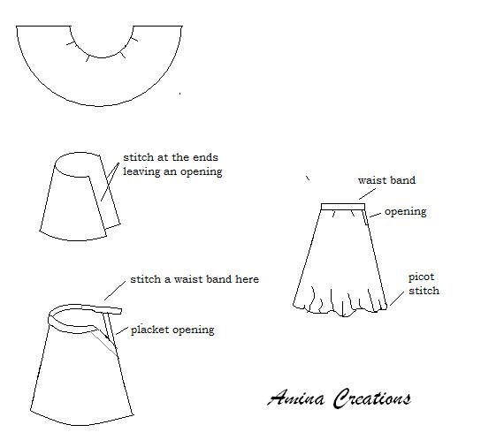 Amina Creations How To Stitch Umbrella Cut Skirt Half