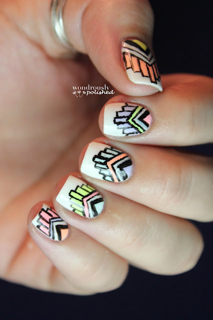 Wondrously Polished February Nail Art Challenge: Wondrously Polished: Polish Me To Go Magical Tribal Print