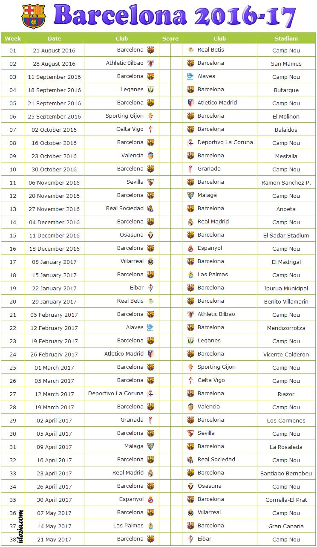 Fc Barcelona Fixtures Amp Results 2016 2017 Cavpo