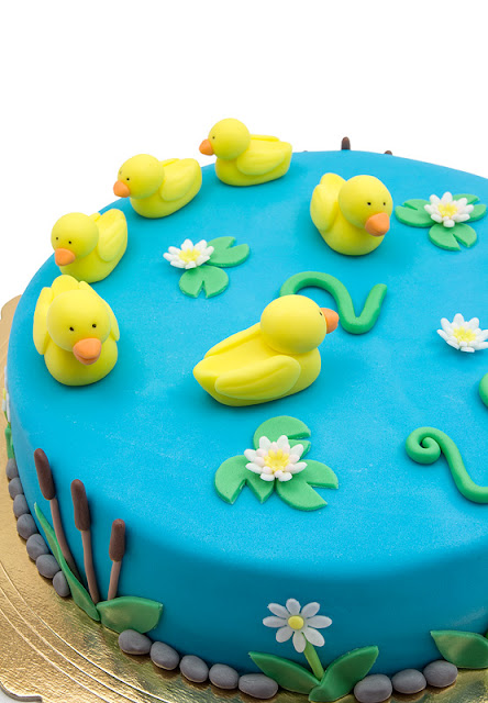Duck fondant chocolate cake ducks and water lilly