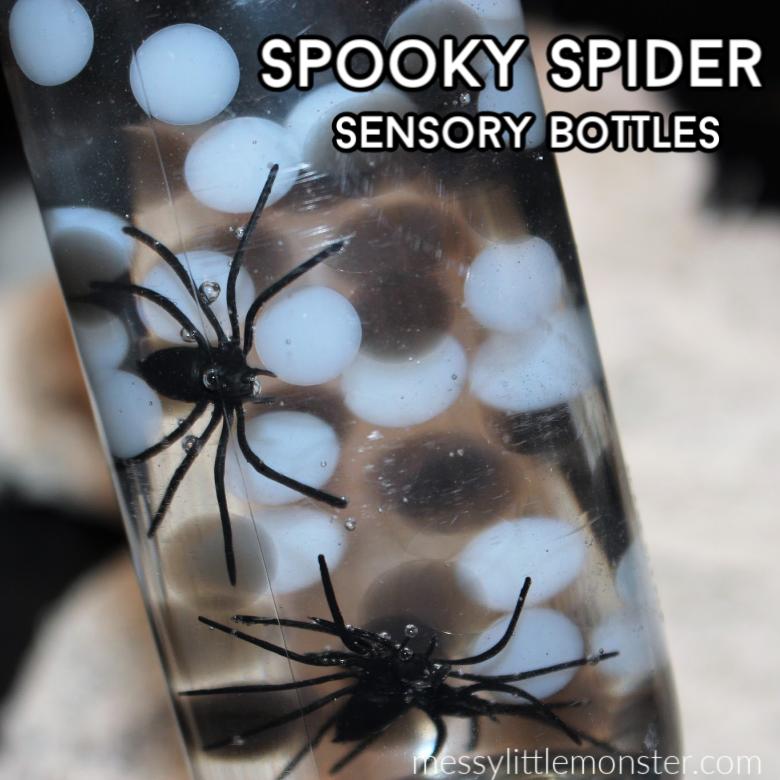 spider halloween sensory bottle