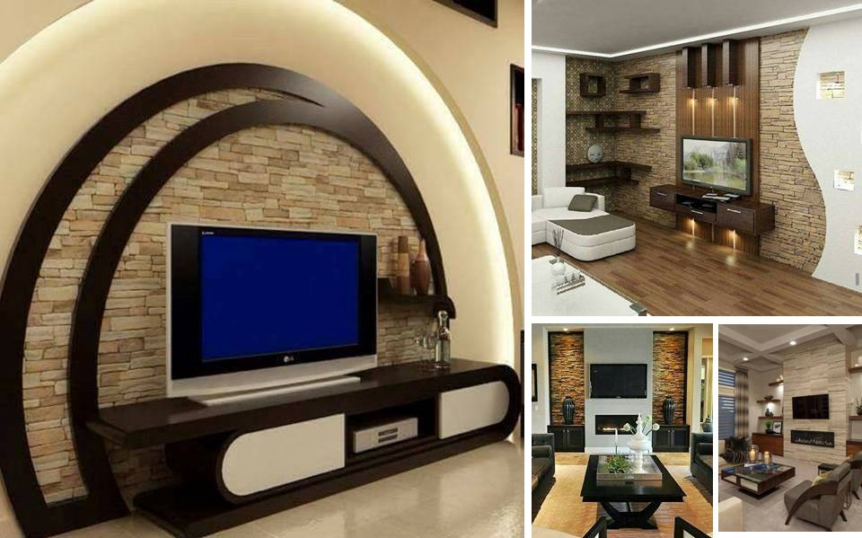 Modern Wall Covering with Brick Stones For TV Units ...