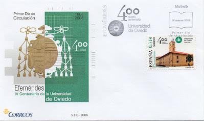 filatelia, sobre, PDC, sello, universidad, Oviedo