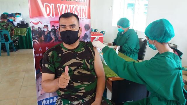 Tepatnya Dimakoramil, Personel Jaajran Kodim 0207/Simalungun Laksanakan Vaksin Tahap ll