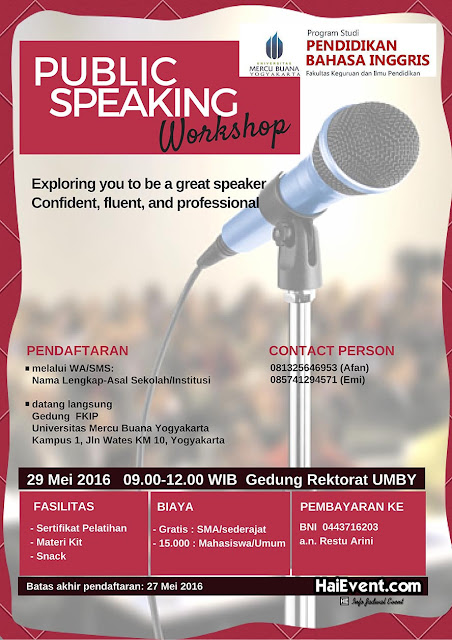 Public Speaking Workshop di Universitas Mercu Buana Yogyakarta mei 2016