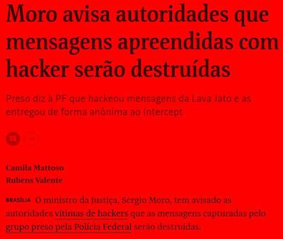 Manchete da Folha com notícia da postagem
