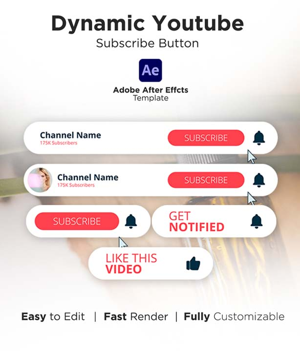 Dynamic YouTube Subscribe Button Pack For After Effect
