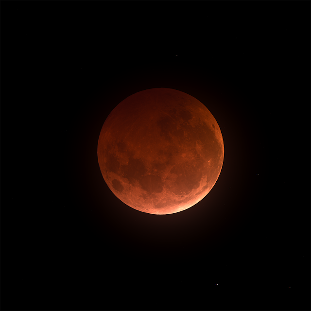 Total Lunar Eclipse imaged at Totality on 01/20/2019 at 22:19:41 MST - Exposures: 14 Seconds Lum - 20 Seconds RGB - Bin 1x1 - Image by Muir Evenden.