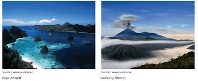 Kepulauan Raja Ampat di Papua Barat dan Gunung Bromo di Jawa Timur www.simplenews.me