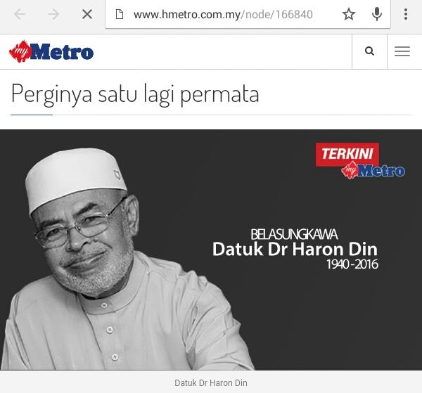 Perginya Seorang Ulama | Ustaz Haron Din Meninggal Dunia!