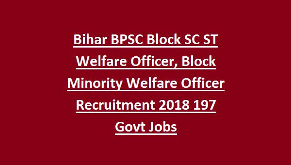 Bihar BPSC Block SC ST Welfare Officer 64th CCE Combined