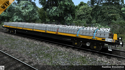 Fastline Simulation: A YQA Parr with Civil Link branding loaded with over 60 concrete sleepers.