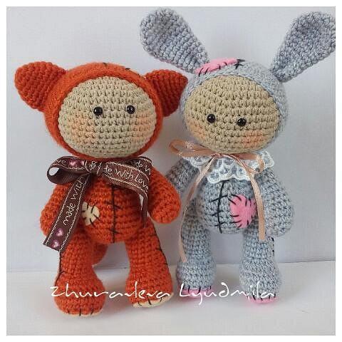 Куклы лисенок и зайчик амигуруми