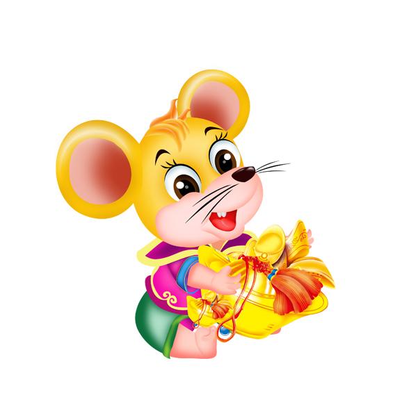 vector chuột ôm thỏi vàng