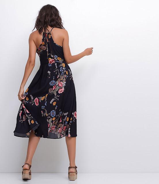 Moda Vestido Midi Floral