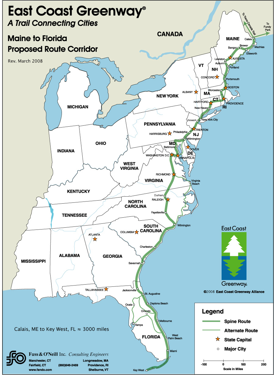gallery for > east coast states and capitals map