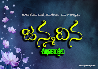 "Telugu birthday celebration greetings ""Janmadina Subhakankshalu"""