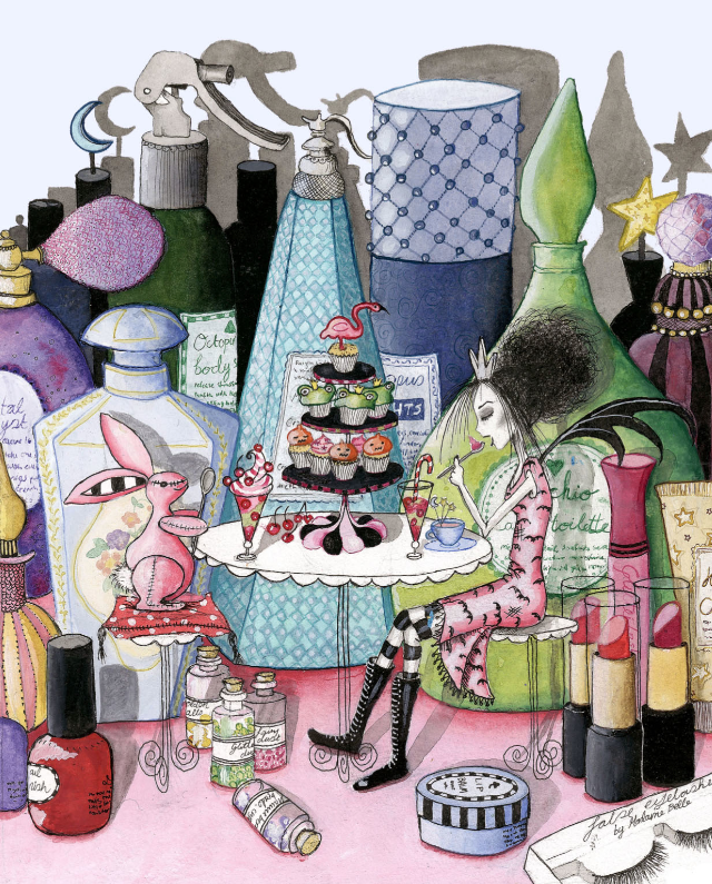 Victoria Stitch and Pink Rabbit enjoying sweet treats