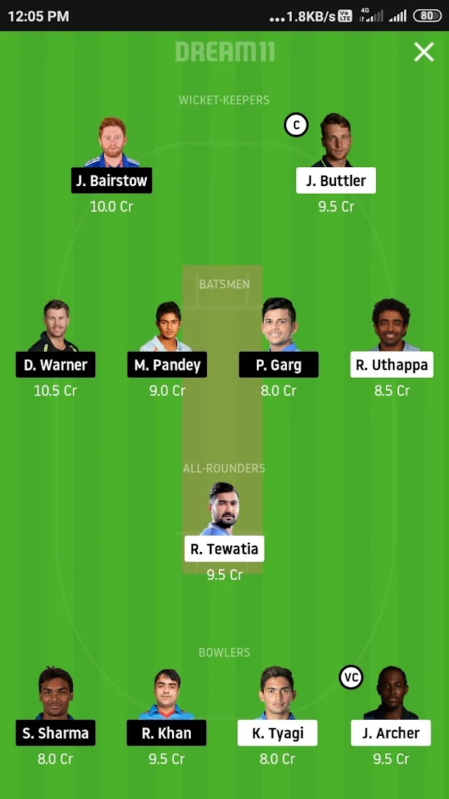 RR VS SRH, Match 40  fantasy 11 prediction and tips