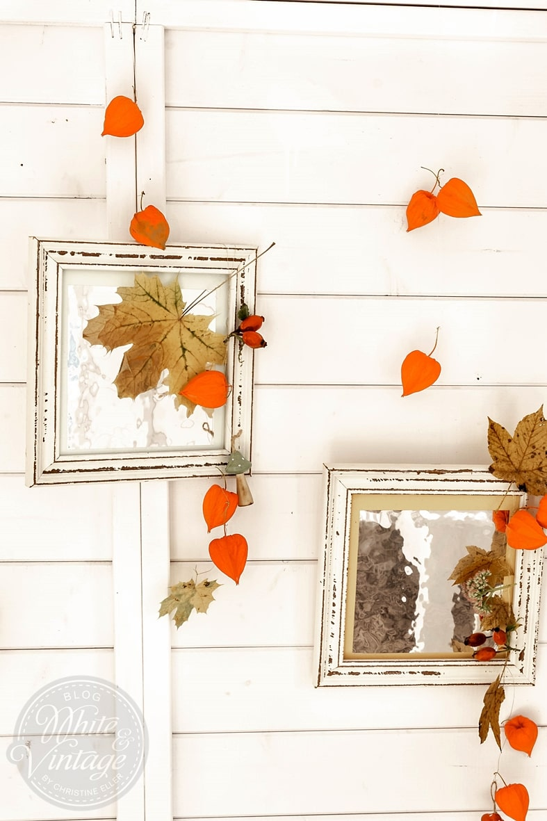 Herbstliche Bilderrahmen als Wanddeko.