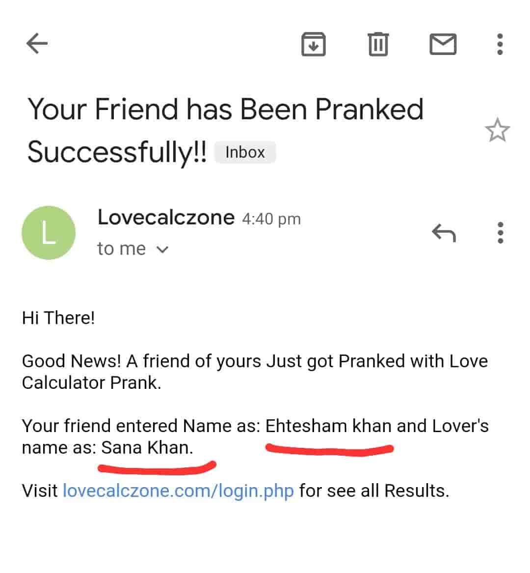 receievd email