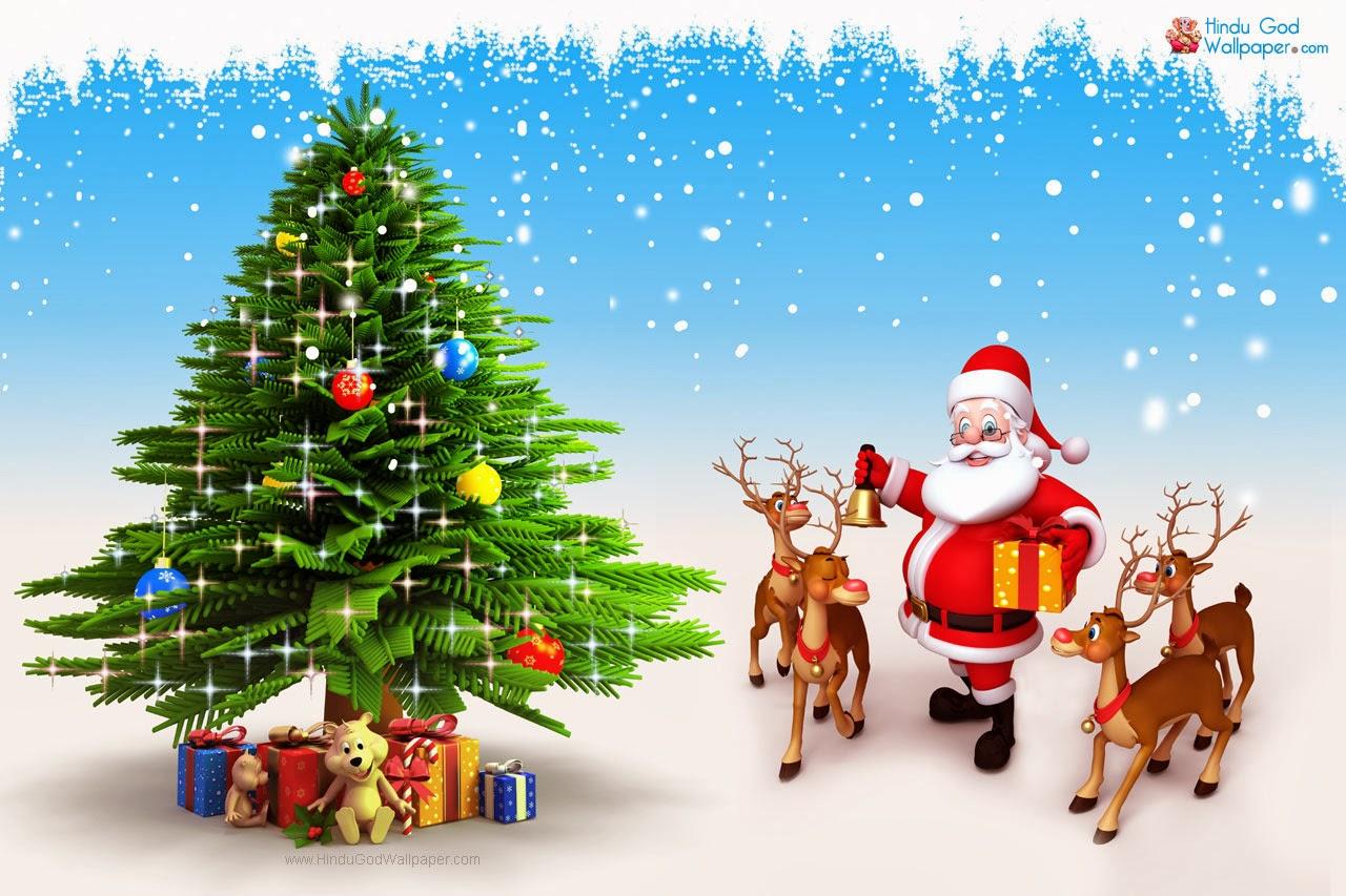 Fondo De Pantalla 3d De Navidad De Santa Vas De Luna Hd: Christmas Wallpapers