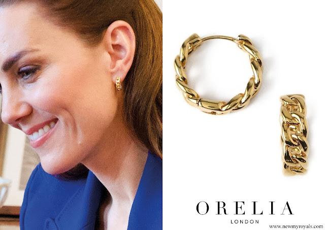 Kate Middleton wore Orelia London Chain Huggie Hoop earrings