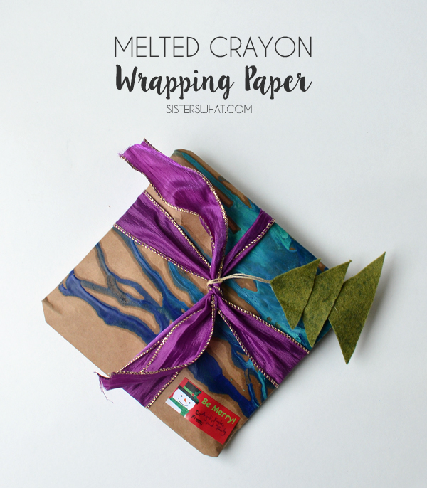 melted crayon wrapping paper