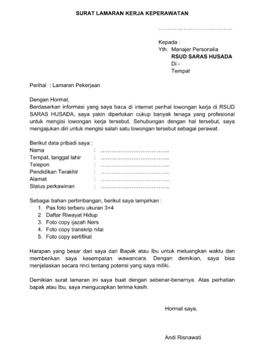 Contoh Surat Lamaran Kerja Di Toko Atau Swalayan Bandung Barat
