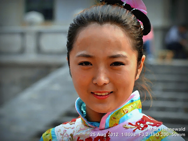 PhotoScape, post production, pictorialisation, water-painting filter, people, Chinese woman, street portrait, China, traditional costume