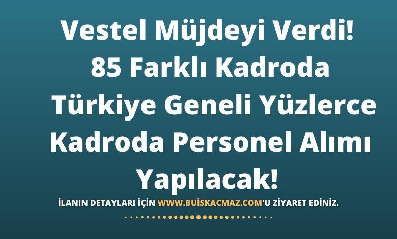 Vestel Müjdeyi Verdi! 85 Farklı Kadroda Türkiye Geneli Yüzlerce Kadroda Personel Alımı Yapılacak!