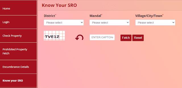 Know your SRO telangana dharani portal