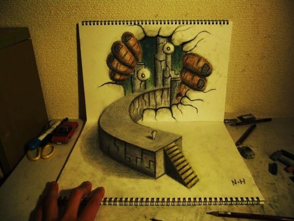 Gambar Sketsa 3 Dimensi Yang Kreatif Keren dan Juga Menakjubkan-6