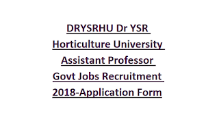 DRYSRHU Dr YSR Horticulture University Assistant Professor Govt Jobs Recruitment Notification 2018-Application Form