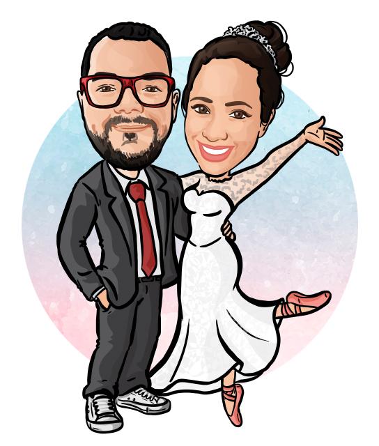 Desenho - Caricatura de Casal de Noivos para Casamento
