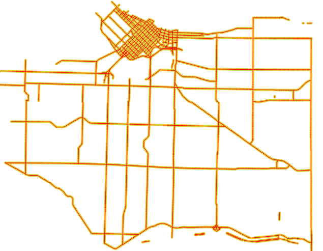 Buffered road segments